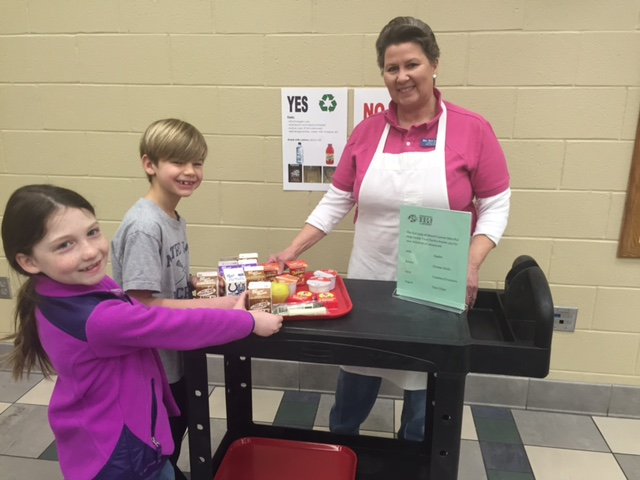Briggs Griffin and Lauren Clay, the two students going to Eco Science Fair, and cafeteria manager Beth Galloway. (Submitted photo)