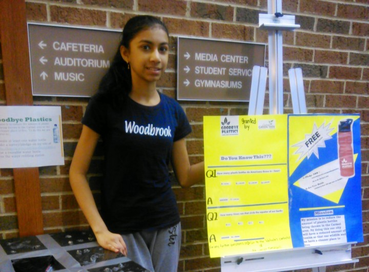 "Laasya Mamidipalli with her project poster. ""Goodbye Plastics"" was her theme. (Submitted photo)"