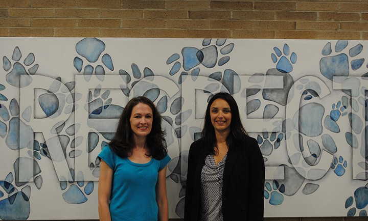 Carolyn Martens (left) and Lila Jay, Carmel Middle School principal. (Photo by Mark Ambrogi)