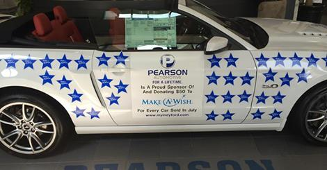 Pearson Ford car covered in Make-A-Wish stars. (Submitted photos)