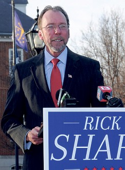 Rick Sharp speaks at a campaign press conference. (Submitted photos)